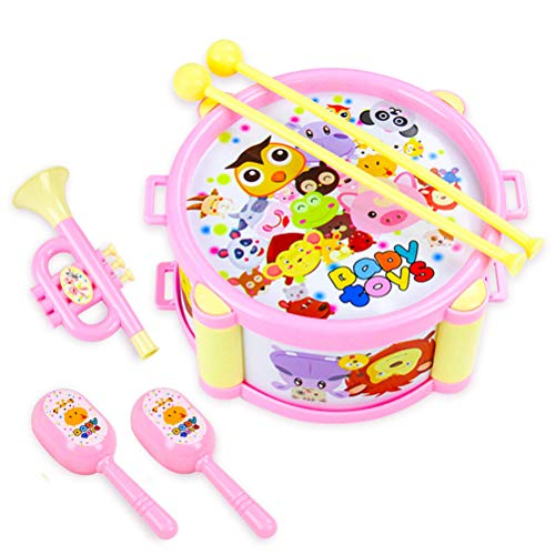 Knowooh Tamburello Set Tamburo per Bambini Strumenti Musicali Set Giocattoli 6 Pezzi Bacchette per Batteria Giocattoli educativi precoci Regalo per Bambini Bambino, Rosa