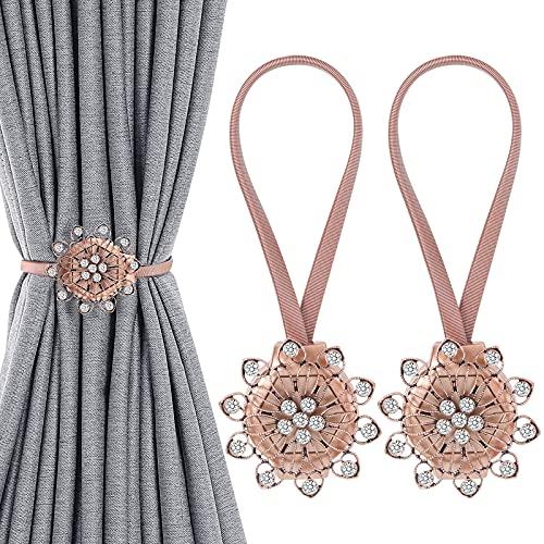 Shinowa [2 Pz Fermatende Magnetici per Tenda a Forma di Fiore con 10 Petali a Forma di Cuore, con Perline Decorative di Cristallo Fibbia Magnetica Tende e Tendine Decorazioni Finestre, Bronzo