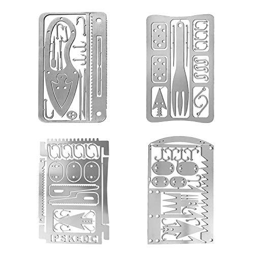 Survival Gear Credit Card Multi Tool - Camping Multipurpose EDC Multitool - Fishing Hooks, Gift Idea (silver 4PC)