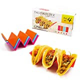 GINKGO Taco Holders Stand 4 Pack,Colorful Taco Tray Plates with Handles Holds Up