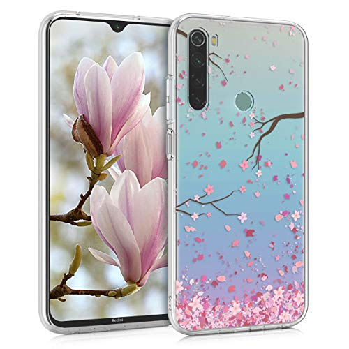 kwmobile Hülle kompatibel mit Xiaomi Redmi Note 8 (2019/2021) - Hülle Handy - Handyhülle - Kirschblütenblätter Rosa Dunkelbraun Transparent