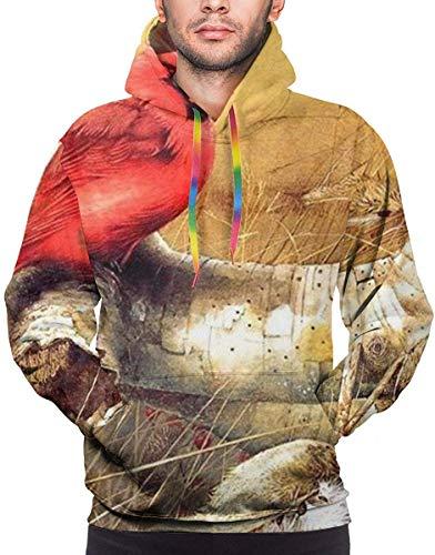 Floral Bird Weed-2 Men 3D Print Pullover Hoodie Sweatshirt with Front Pocket