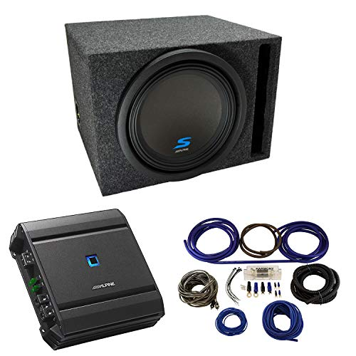 Universal Car Stereo Vented Port Single 12' Alpine Type S S-W12D4 Sub Box Enclosure with S-A60M Amplifier & 4GA Amp Kit