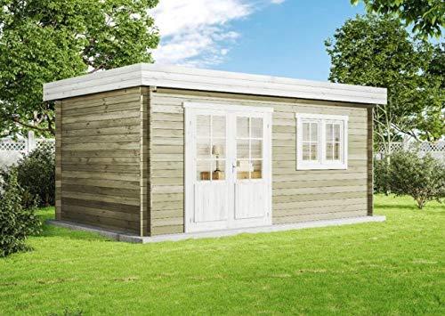 CARLSSON Alpholz Gartenhaus Spree-28 A aus Massiv-Holz | Gerätehaus mit 28 mm Wandstärke | Garten Holzhaus inklusive Montagematerial | Geräteschuppen Größe: 500 x 300 cm | Pultdach
