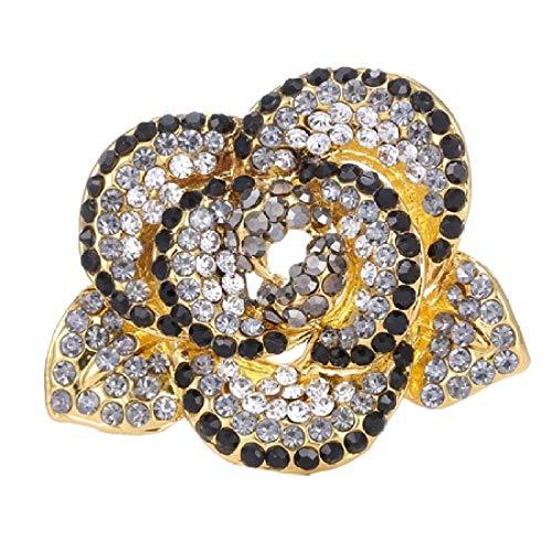 SUZHENA Broche Broche de Flores de Color Dorado de Plantas Naturales para Mujeres Broche de Cristal Accesorios de joyería, Negro