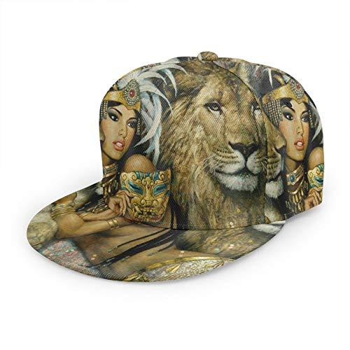 LAOLUCKY Gorra de béisbol ajustable Gorra de bola Mujer africana Egipto Reina y León Papá Sombrero Mujeres Snapback Tapas