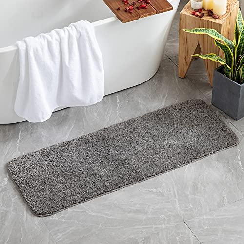 MIULEE Teppich Badematte Badezimmerteppich Bettvorleger rutschfest Badteppich Badvorleger Saugfähige Duschvorleger Waschbar Fussmatte für Wohnzimmer Schlafzimmer Badezimmer 45x120 cm Grau
