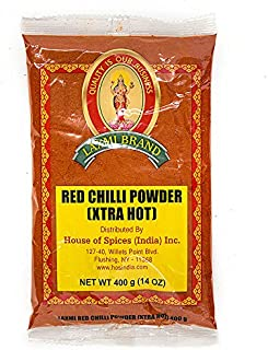 Laxmi Traditional Indian Spicy Red Chili Powder, Extra Hot - 14oz (400g)