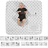 Baby Monthly Milestone Blanket with 20 Milestone Moments Props for Boy & Girl, Photography Blankets, Organic Thick Fleece Blanket Backdrop for Personalized Month Pictures for Girls and Boys