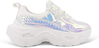 Women Holographic Iridescent Metallic Chunky Sneakers - White Shoes Ugly Dad Sneakers