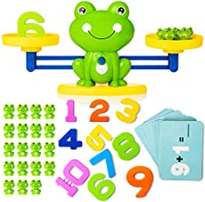 Balance Cool Math Toy, Frog Shape Educational Number Counting Toy, Fun Preschool STEM Learning Toy for Boys Girls Age 3+ (63 PCS Set), Green