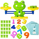 Cool Math Counting Balance Toy, Frog Kindergarten Educational Number Counting Toy, Fun Preschool Todddlers STEM Learning Tool Game Toy for Boys Girls Gift Age 3+ (63 PCS Set), Green
