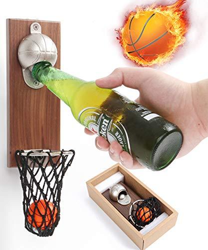BAYINBROOK Apribottiglie da parete – Apribottiglie da parete in legno vintage per bar, cucina, appartamento, terrazza (basket, pallacanestro)