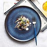 HUAHUA Ciotole di Ciotola creativa gradiente blu piatto di ceramica Pasto - 11 pollici Piatto Fondo di stile giapponese Insalata di frutta piatto, ristorante Bistecca Pasta Disc