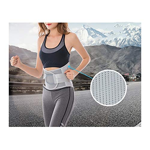 LSRRYD Dual Adjustable Lumbar Support Belt Back Brace Support For Lower Back Pain For Pain Relief And Injury Prevention Straps And Breathable Mesh Panels (Color : Silver, Size : XL)