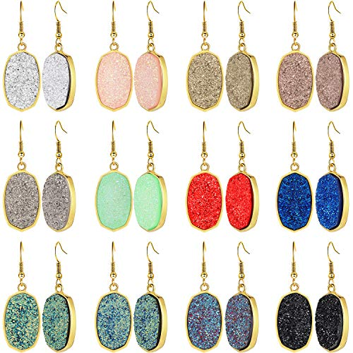 12 Pairs Faux Druzy Drop Earrings Crystal Pendant Dangle Earrings Multicolor Stainless Steel Earrings (Oval Shape)