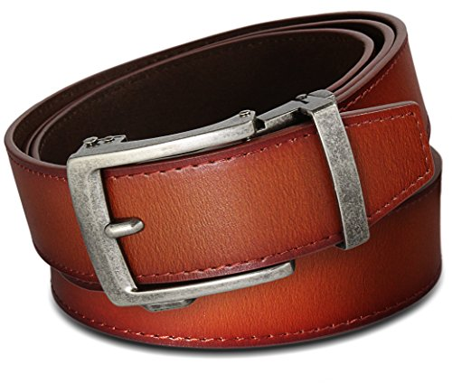 """Men's Leather Ratchet Click Belt – Classico Antique Silver Buckle with Sienna Tan Leather Belt (Trim to Fit: Up to 43"""" Waist)"""