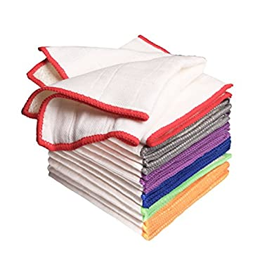 Luckiss 100% Bamboo Dish Cloths & Rags Super Absorbent Eco Friendly Kitchen Towels with Scrubbing Side for Washing Dishes White Dishcloths 12 X 12 inch