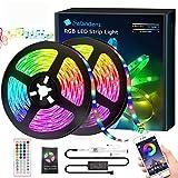 10M Tira LED de Bluetooth, Salandens 5050 32.8 ft / 10 meter 300 Luz LED RGBW Tira de luces LED con Bluetooth,con Control Remoto de 44 Botones para control de Smartphone Prueba de Agua RGB Tira de Luz...