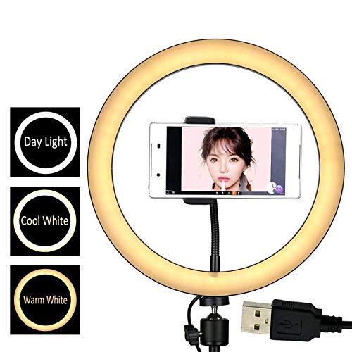 Regulable LED Luz del Anillo,10.2/11.8in 3 modos Regulable Anillo de luces LED Maquillaje, Selfie, Transmisión en vivo, Grabación de video en YouTube