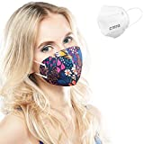 ALB Stoffe® CoverMe - 3 Cover HeiQ-Viroblock mit Halbmaske, MIX 1, 100% Made in Germany, Nasen-Mund-Masken, 3+1er Pack