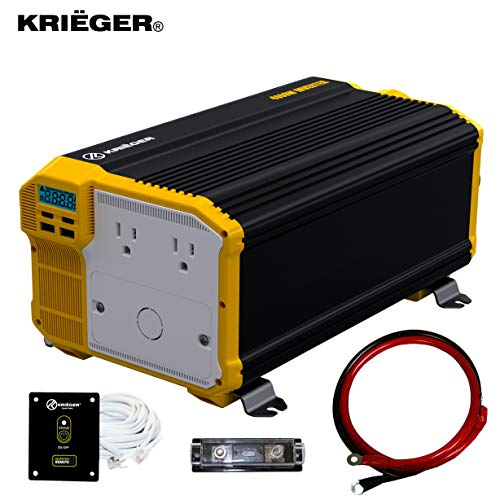 Krieger 4000 Watts Power Inverter 12V to 110V, Modified Sine Wave Car Inverter, Dual 110 Volt AC Outlets, Hardwire Kit, DC to AC Converter with Installation Kit - MET Approved to UL and CSA Standards