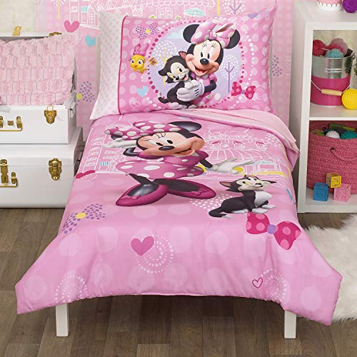 Disney Minnie Mouse Helping Friends 4 Piece Toddler Bedding set - Fitted Sheet, Pillow Case, Top Sheet, and Comforter Quilt - Pink