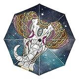 Paraguas de Viaje pequeño a Prueba de Viento al Aire Libre Lluvia Sol UV Auto Compacto 3 Pliegues Cubierta de Paraguas - Mandala Hippie Indio Elefante étnico Animal