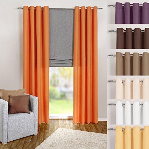 heimtexland ® Ösenschal Vorhang in orange uni blickdicht aber lichtdurchlässig HxB 245x140 cm - Dekoschal Microfaser mit wunderschön leichtem Fall - Gardine Typ117