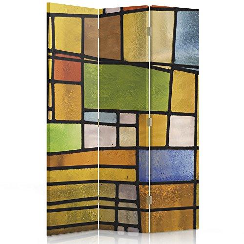 Feeby Frames Il paravento Stampato su Telo,Il divisorio Decorativo per Locali, unilaterale, bilaterale, a 3 o 4 Parti, Geometria, Disegni, PIAZZE, ASTRAZIONE, Multicolore