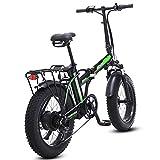 500W eléctrica plegable bicicletas, 48V para hombre bicicletas 7 Velocidad Variable 4 pulgadas Fat Tire camino de la bicicleta de la bici con nieve pedales frenos de disco hidráulicos,Negro,20inches