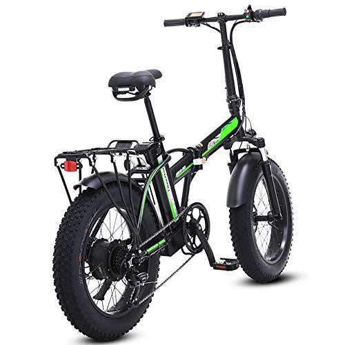 500W Elektro-Klapprad, 48V Mens Berg E Bike 7 Variable Speed 4-Zoll-Fat Tire Straßen-Fahrrad Schnee-Fahrrad-Pedale mit Hydraulische Scheibenbremsen und Federgabel, 3 Betriebsart,Schwarz,20inches