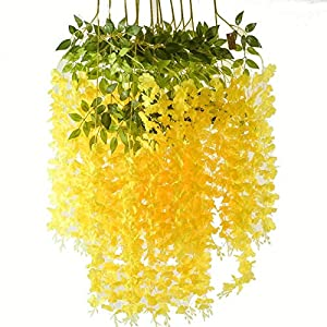 Romase 12 Pack 3.6 Feet/Piece Artificial Wisteria Vine Ratta Fake Wisteria Hanging Garland Silk Long Hanging Bush Flowers String Wedding Home Party Decor (Yellow)