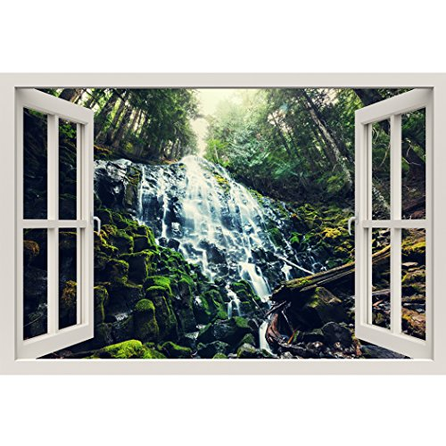 Window Frame Mural Lush Jungle falls - Huge size - Peel and Stick Fabric Illusion 3D Wall Decal Photo Sticker by RoyalWallSkins