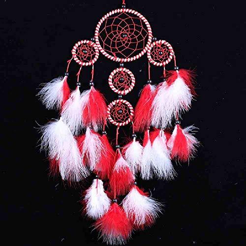 WAXY Prachtige dromenvanger handgeweven dromenvanger met rode witte veren voor wanddecoratie thuis