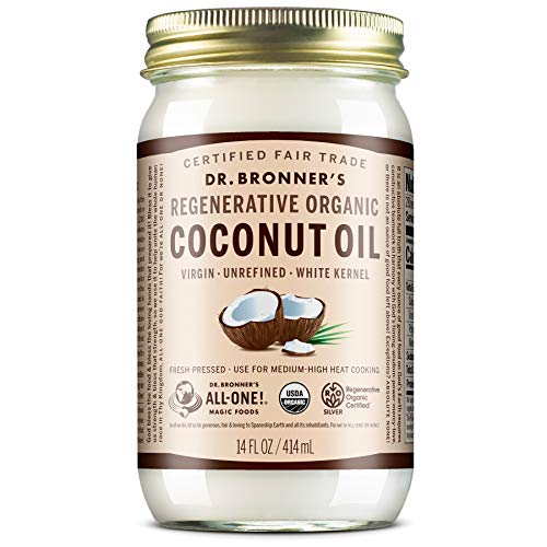 Dr. Bronner's - Organic Virgin Coconut Oil (White Kernel, 14 ounce) - Coconut Oil for Cooking,...