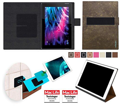 Hülle für Medion Lifetab S10365 Tablet Tasche Cover Case Bumper | in Braun Wildleder | Testsieger