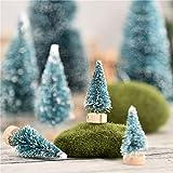 7 PCS Miniatura Árbol De Navidad Pequeñas Miniaturas Artificiales Sisal Snow Frost Trees, Adornos De Nieve De Invierno Tableros De Mesa para Fiesta De Navidad