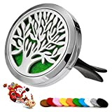 silver, circular essential oil diffuser for car vent, with tree design on it
