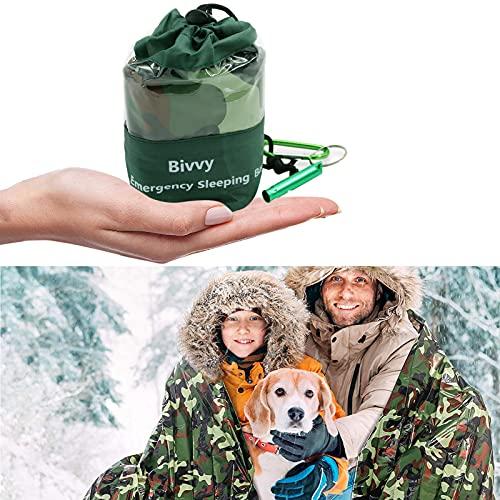 Notfall Überleben Schlafsack,Notfall-Schlafsack mit Survival Whistle und Sicherheitsschnalle,Survival Biwaksack,Notfallzelt,Rettungsdecken,Überlebensdecke,Überlebensausrüstung für Outdoor