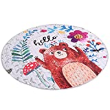 VOSAREA Alfombra redonda para guardería de juguete, alfombrilla de almacenamiento para niños, alfombra redonda para gatear (oso)