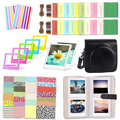 Leebotree Accessori Compatibile con Instax Square SQ6 Fotocamera Istantanea, Pacchetto Camera Intero: Caso/Album/Cornici/Adesivi (Nero)