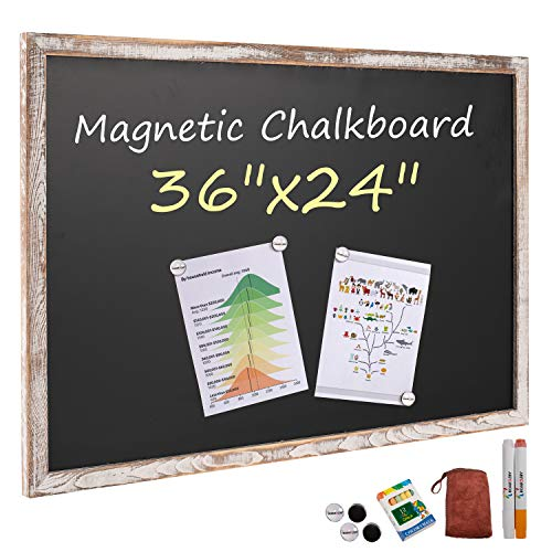 Board2by Rustic Wood Framed Magnetic Chalkboard 24 x 36, Large Hanging Chalk Board Sign for Kids, Non-Porous Wall Blackboard for Wedding Kitchen Restaurant Menu and Home with 4 Unique Magnets, White