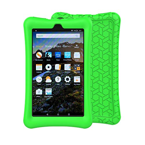 eTopxizu Case for All-New Amazon Fire 7 Tablet, Kids Friendly Light Weight Anti Slip Shock Proof Protective Soft Silicone Back Cover Case for New Fire 7 Tablet (7th Generation, 2017 Release), Green
