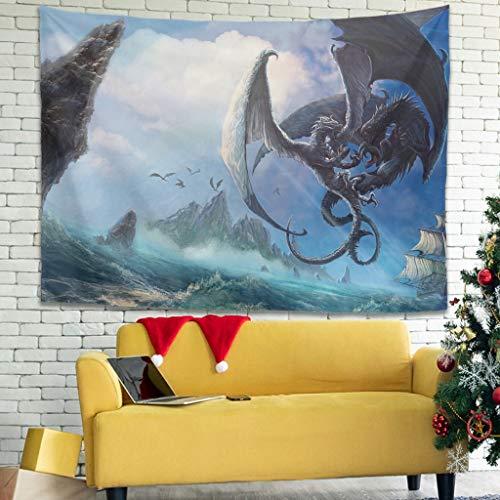 Tapiz de pared Fantasy Dragon con diseño de barco marinero a presión, color blanco, 150 x 130 cm
