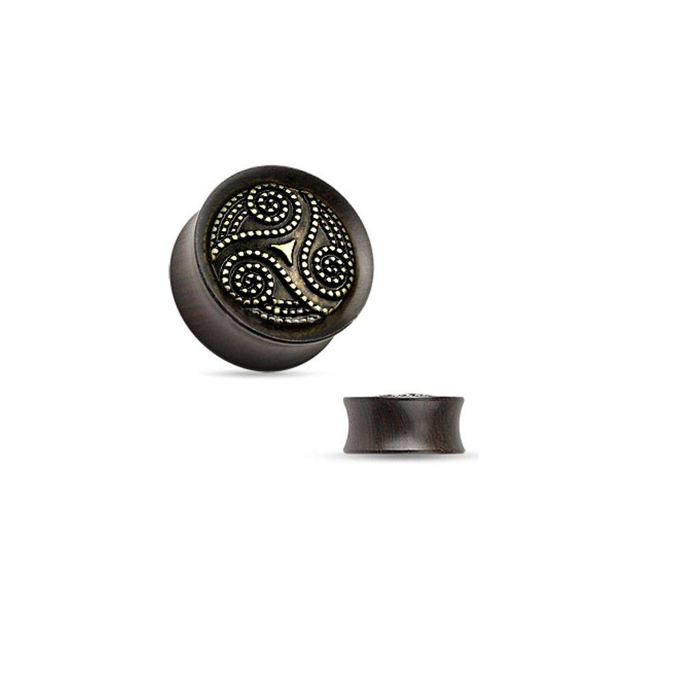 目的シンボルモードリンオーガニック耳栓 – 点線入り部族真鍮渦巻き木製サドルフィット 黒檀製ダブルフレアプラグ 12mm - 1/2 inch
