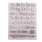 KunmniZ 1 PC Happy Birthday alfabeto silicona sellos transparentes para decoración regalo DIY Scrapbook repujado álbum Craft