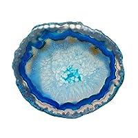 置き石 天然石 パワー ストーン 瑪瑙 アゲート スライス ジュエリー製作 装飾 全5色 - 紺