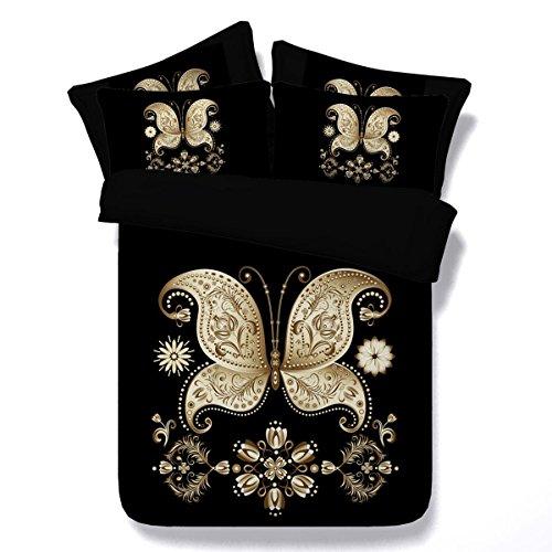 Housse de Couette 3D Fibre Matériel Golden Butterfly Motif Impression numérique Ensemble de literie et taie d'oreiller, 150 * 200