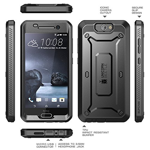 HTC One A9 Case, SUPCASE [Heavy Duty] Case for HTC One A9 2015 Release [Unicorn Beetle PRO Series] Rugged Hybrid Protective Cover w/ Built-in Screen Protector (Black/Black)